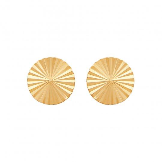 Boucles d'Oreilles puces rondes avec reflets Plaqué Or - décentrées