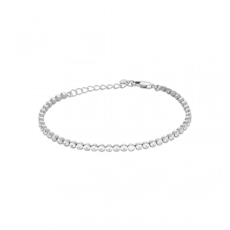 Bracelet Argent Zirconiums Tour De Rhodié 1618cm Femme CxBerod