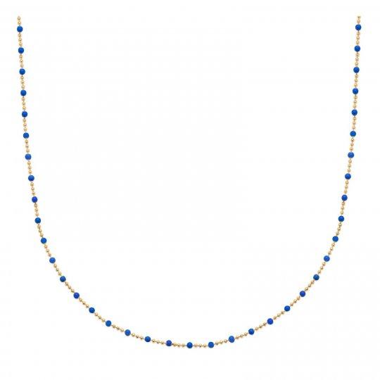 Collier Email bleu Plaqué Or - Femme - 45cm