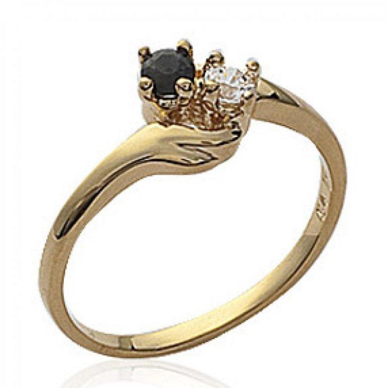 Ring de fiançailles toi et moi Onyx Gold plated 18k - Precious Gemstone