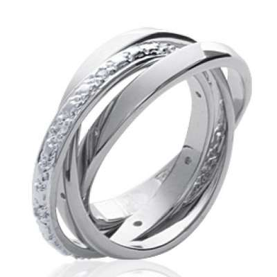 Alliance 3 anneaux Argent Rhodié - Zircone - Femme