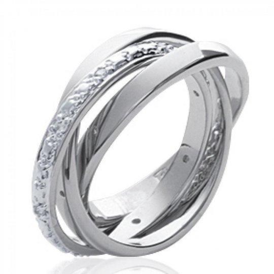 Anello Nuziale Fede 3 anneaux Argent Rhodié - Zirconium - Donna