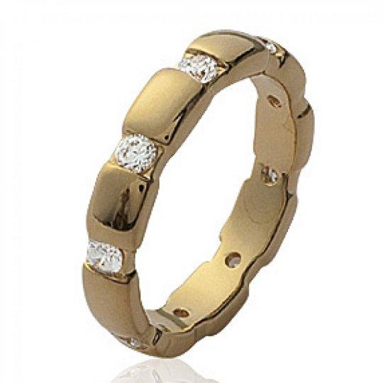 Anello Nuziale Fede Placcato in oro 18k - Zirconium - Donna