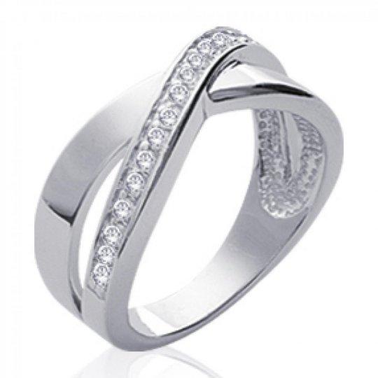 Ringe croisée Argent Rhodié - Zirconium - Damen