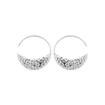 Hoop Earrings ouvertes Crescent Moon martelé 30mm Argent...
