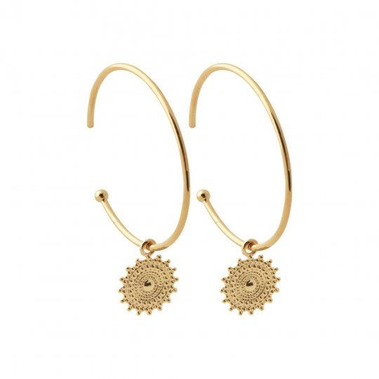 Hoop Earrings ouverte breloque soleil Gold plated 18k -...