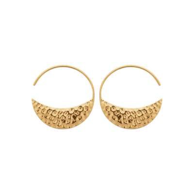 Hoop Earrings Crescent Moon martelé ouvertes Gold plated...