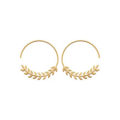 Hoop Earrings Bay leaf ouvertes Gold plated 18k 30mm - Women