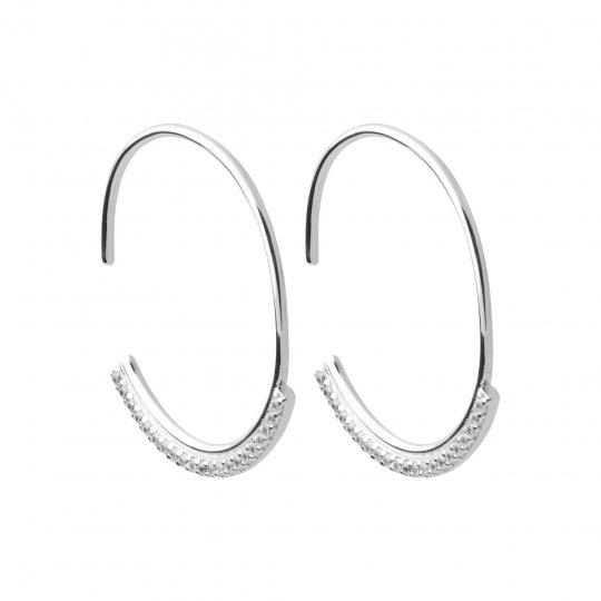 Hoop Earrings ouvertes pavé de Zirconiums Argent Rhodié -...