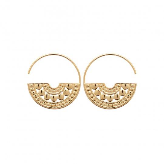 Hoop Earrings ouverte demi-pleine aztèque Gold plated 18k...