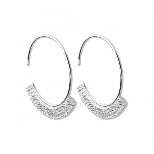 Hoop Earrings ouvertes pavées brillantes argent rhodié -...