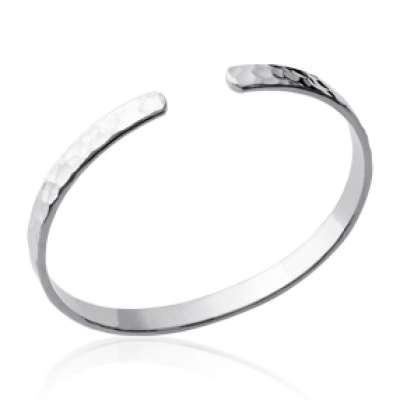 Bracciale Bangle martelé Argento Sterling 925 Rodiato -...