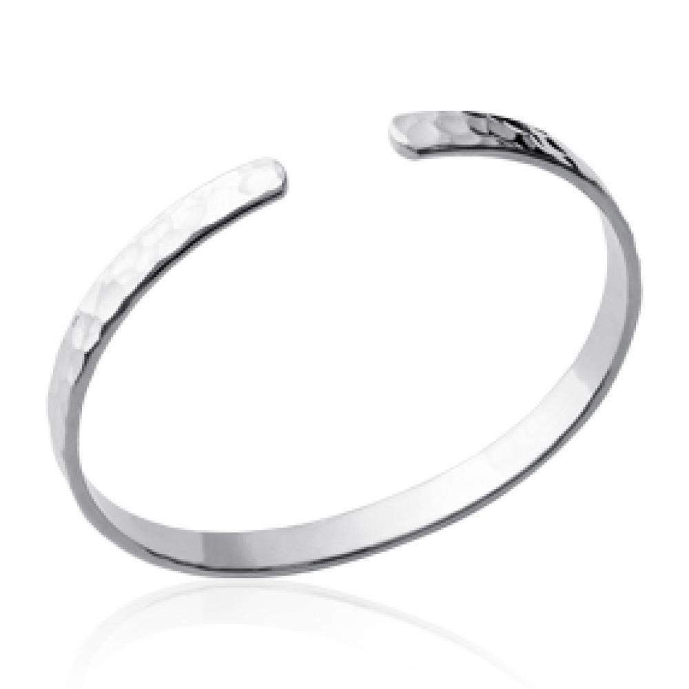 Bracciale Bangle martelé Argento Sterling 925 Rodiato - Donna - 56mm