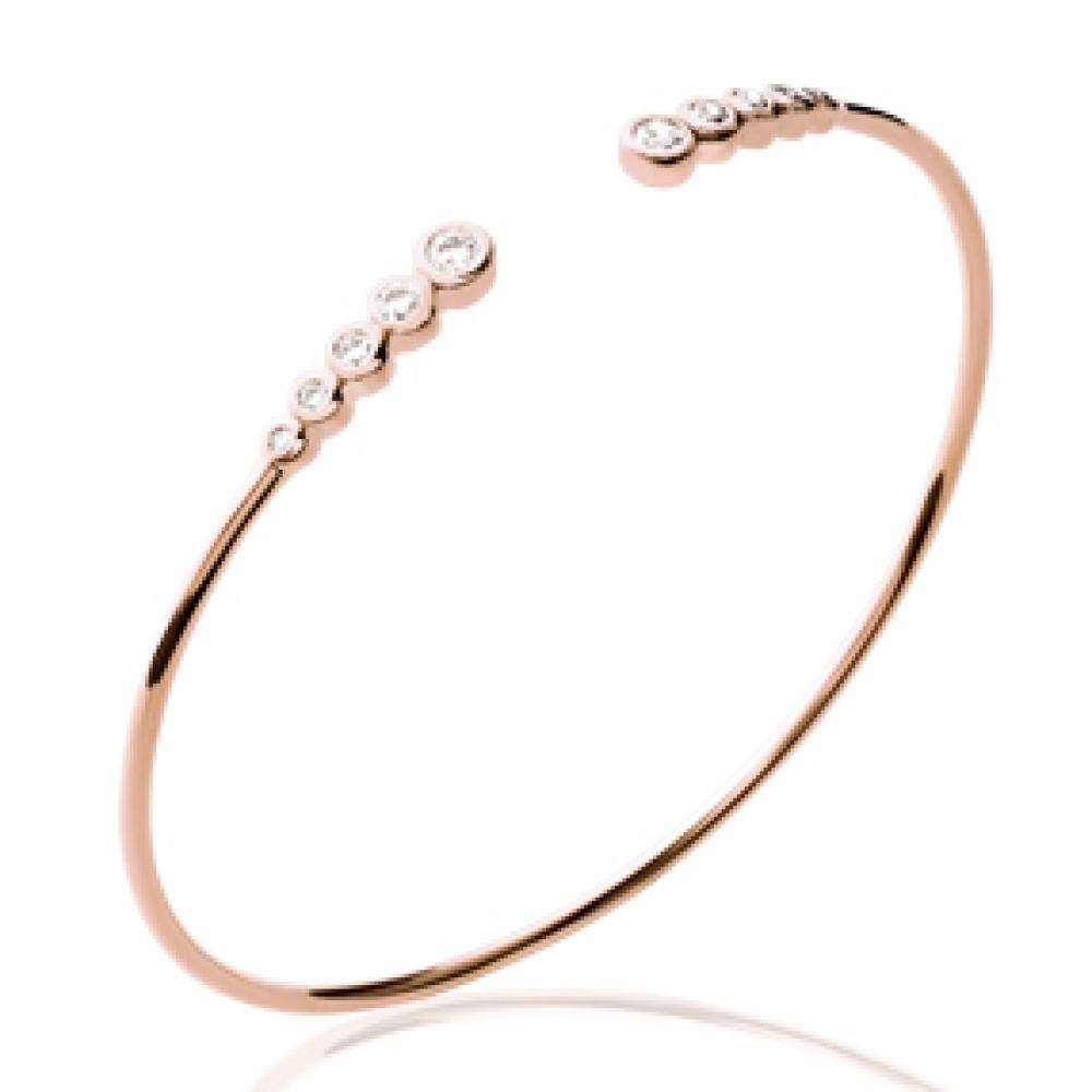 Bangle ligne de pierres Gold plated 18k - Cubic Zirconia - 56mm