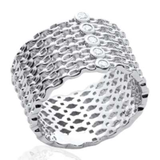 Anello tube style chaines Argent Rhodié - Zirconium - Donna