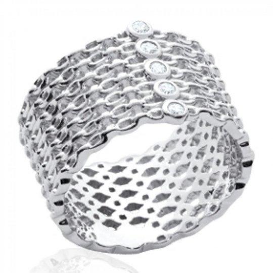 Bague tube style chaines Argent Rhodié - Zirconium - Femme