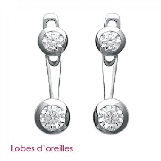 Boucles d'oreilles sous lobe argent - Rhodié - Oxyde de zirconium