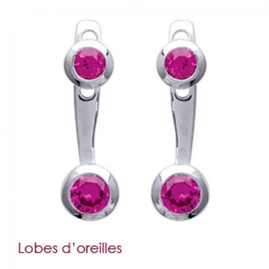 Boucles d'oreilles sous lobe argent pierre d'imitation rose - Rhodié