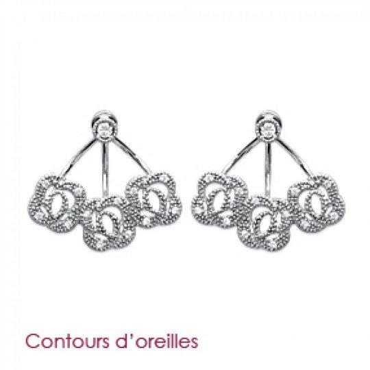 Boucles d'Oreilles Contours de lobes fleurs Argent Rhodié...