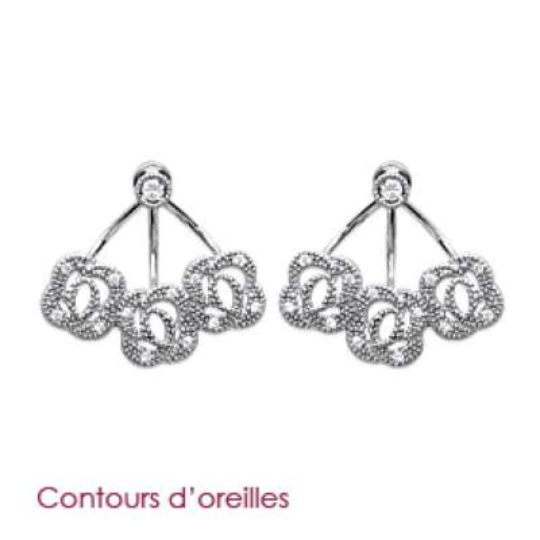 Earrings sous lobes Flowers Argent Rhodié - Zirconium