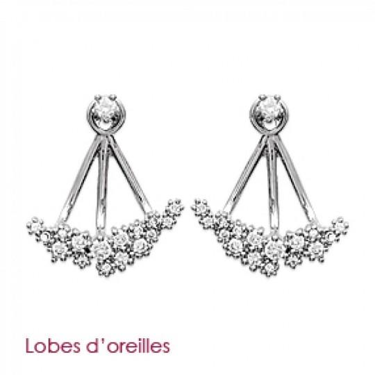 Earrings Contours de lobes cristaux Argent Zirconium