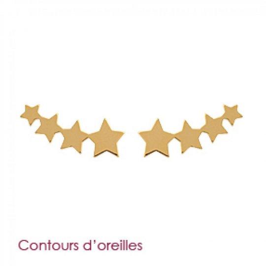 Earrings contour lobe grimpantes étoiles Gold plated 18k