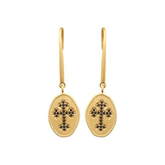 Croce catholique pierres d'imitation Nero Placcato in oro 18k