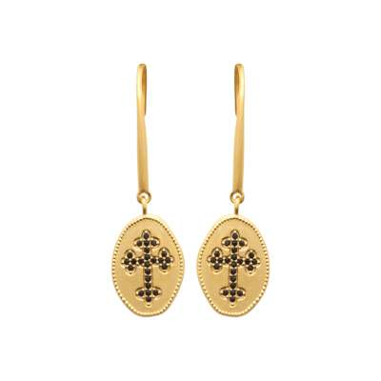 Drop Earrings Christian cross catholique pierres Black...