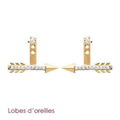 Earrings dessous de lobes Arrow Gold plated 18k - Zirconium