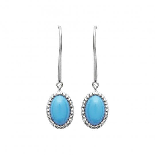 Boucles d'Oreilles pendantes pierre bleue clair Argent...