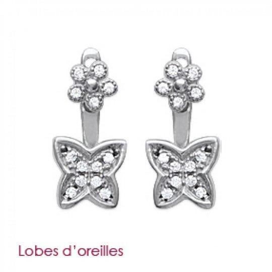 Boucles d'oreilles sous lobe argent papillons - Rhodié - Zirconium