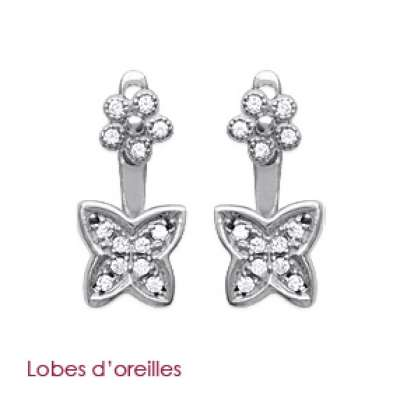Earrings dessous de lobes Butterflys Argent Rhodié Zirconium