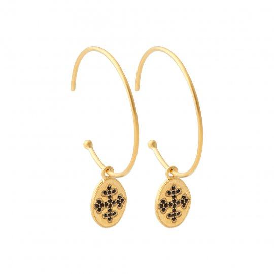 Créoles ouvertes croix occitane pierres d'imitation noires Plaqué Or - Femme