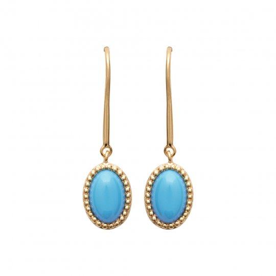 Boucles d'Oreilles pendantes cabochon bleu Plaqué Or -...
