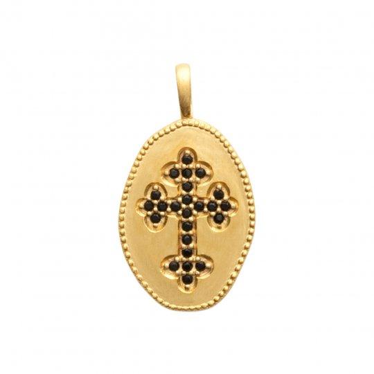 Anhänger médaillon Kreuz catholique pierres Schwarz...