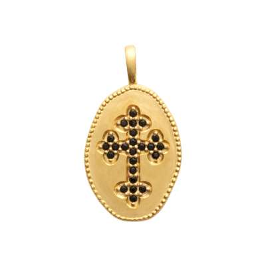 Pendentif médaillon croix catholique pierres noires...