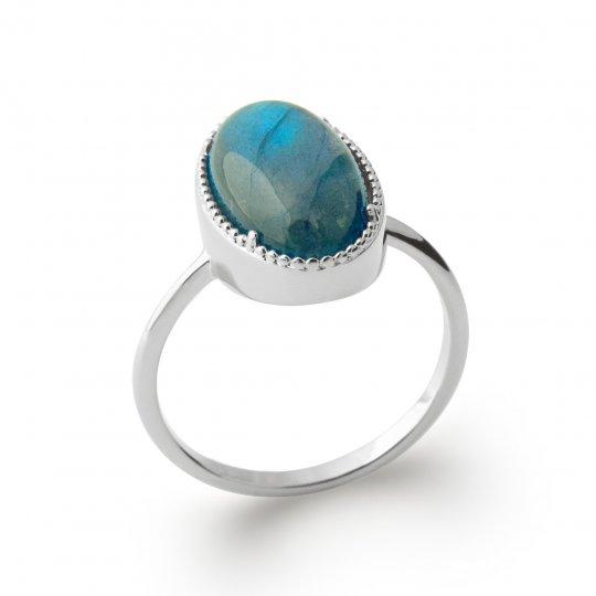 Bague grosse pierre bleue labradorite Argent Rhodié - Femme