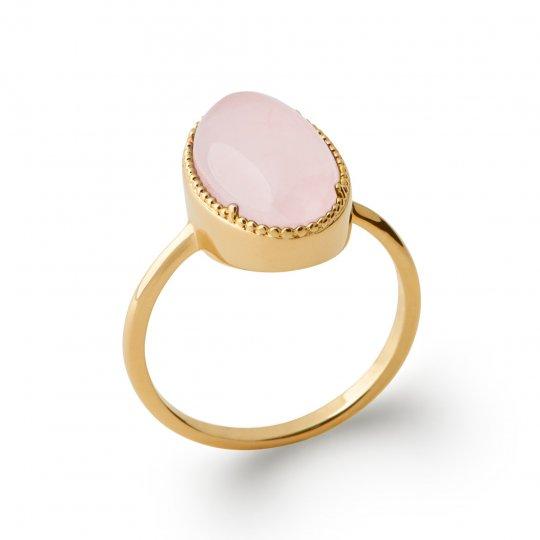 Bague cabochon quartz rose Plaqué Or - Pierre précieuse -...