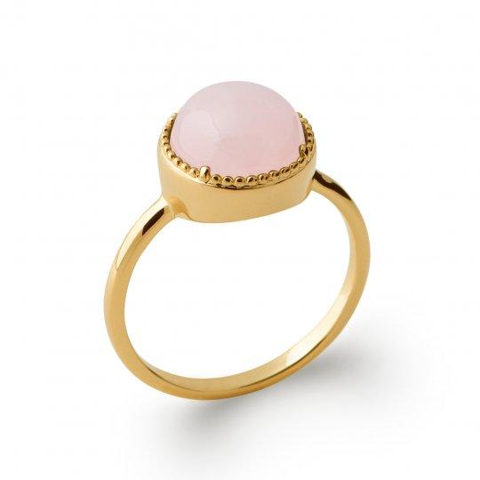 Bague fine solitaire quartz rose Plaqué Or - Pierre...