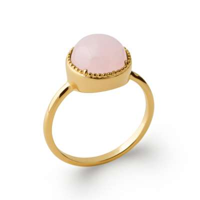 Ring fine Solitaire quarts rose Gold plated 18k -...