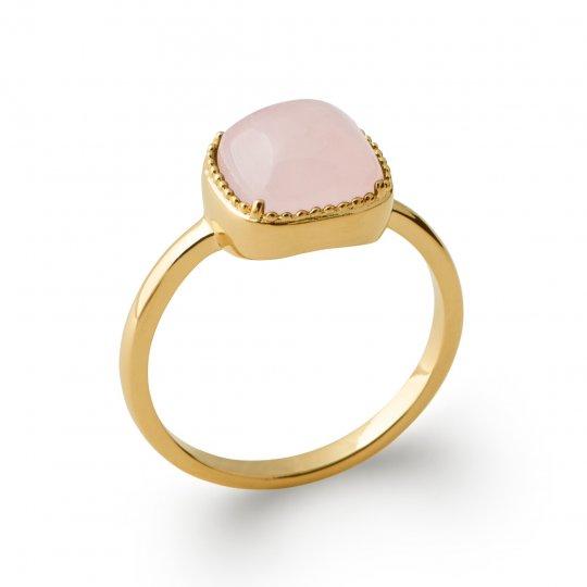 Ring fine quartz rose Gold plated 18k - Precious Gemstone...