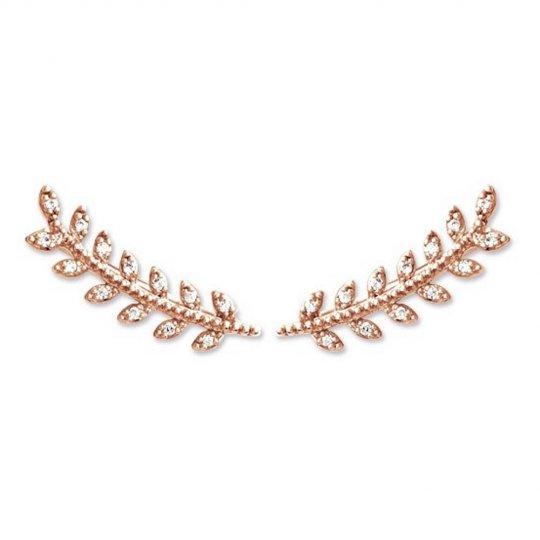 Earrings contour lobe Bay leaf grimpantes Gold plated 18k...