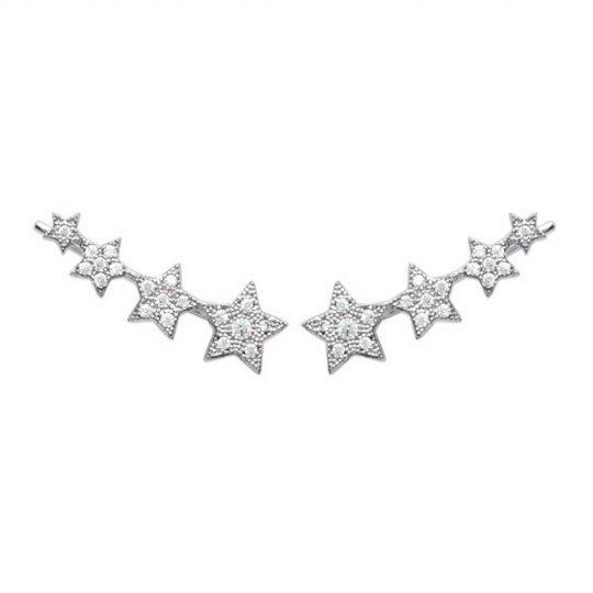 Ear climber earrings étoiles Argent Rhodié - Zirconium