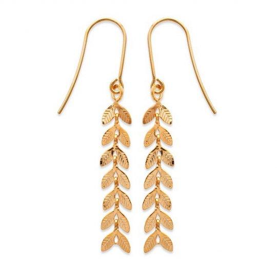 Earrings Bay leaf branche  Gold plated 18k - Women