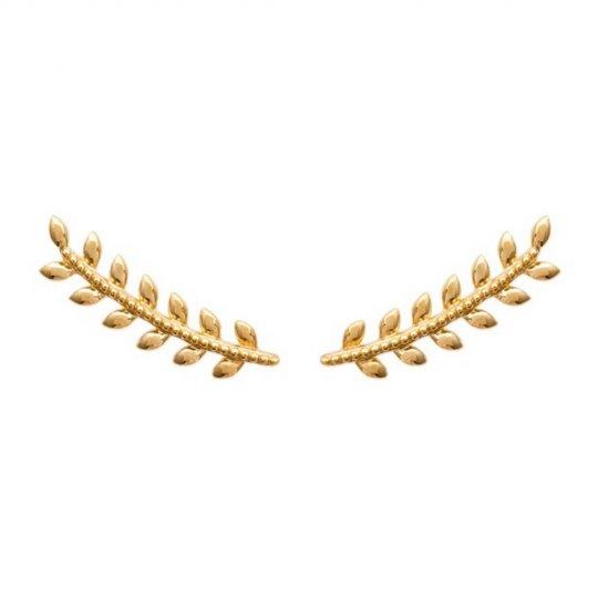 Ear climber earrings Bay leaf Gold plated 18k - Women