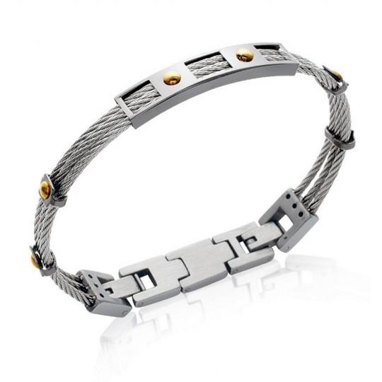 Pulsera cable de acero 316L - Carbono - Hombre - 20cm