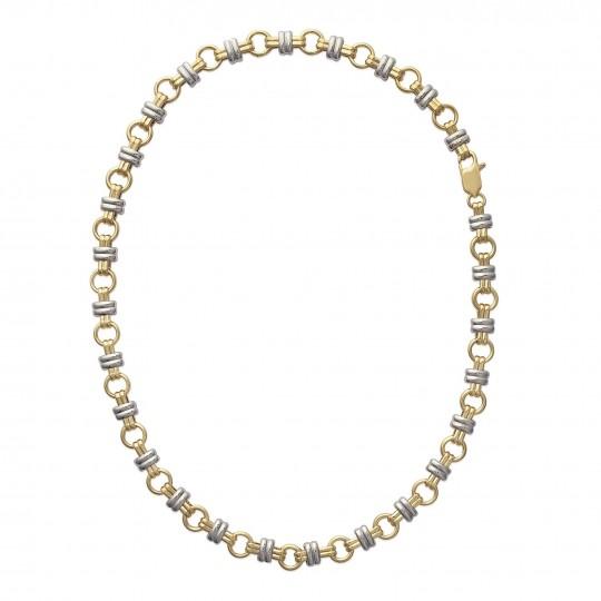 Bracelet chaîne Plaqué Or - Bicolore - Femme - 18cm