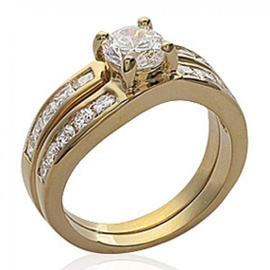 Anello de fiançailles Solitario Placcato in oro 18k - Zirconium - 2 anneaux