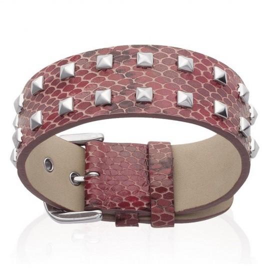 Bracelet Leather Serpent Rouge à pointes - Women - 19cm