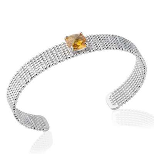 Manchette perlée pierre d'imitation couleur ambre 9mm Argent Rhodié - 58mm